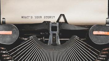 What's Your Story question printed on an old typewriter